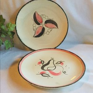 Blue Ridge Southern Pottery Pink & Black Plate